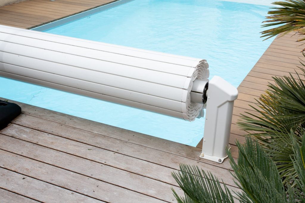 White pool cover for pool